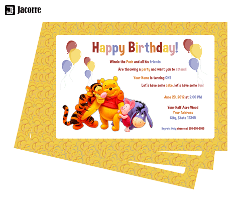 Incredible Jacorre Winnie The Pooh 1St Birthday Funny Birthday Cards Online Inifofree Goldxyz